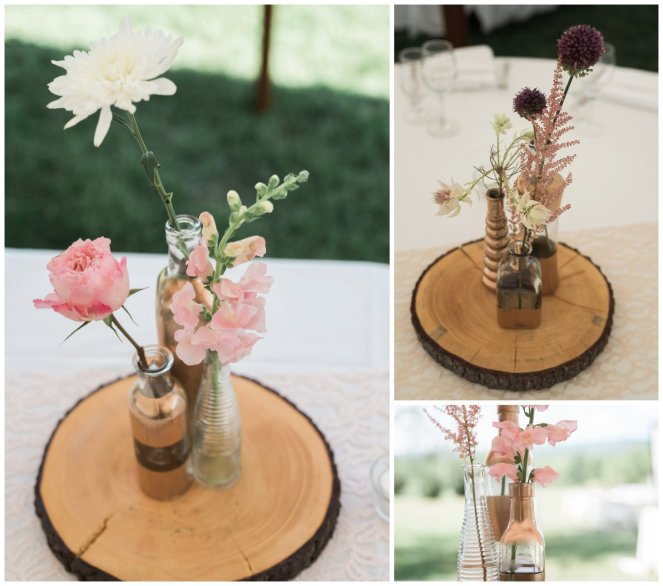 Floral and Jar Centerpieces on Wood Slab