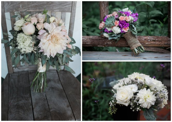 Bridal Bouquets with white, pink and purple flowers
