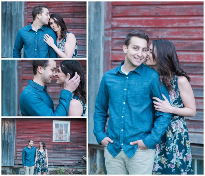 Gorgeous couple in front of Red Barn in New York