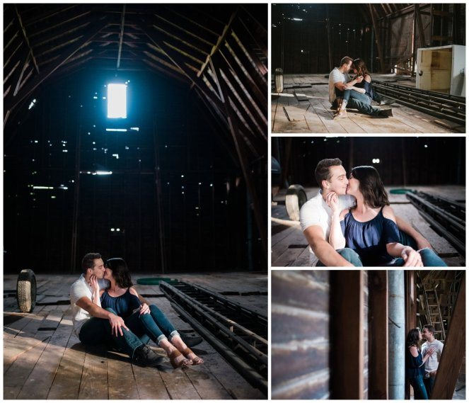 Engagement shoot inside of a dark barn