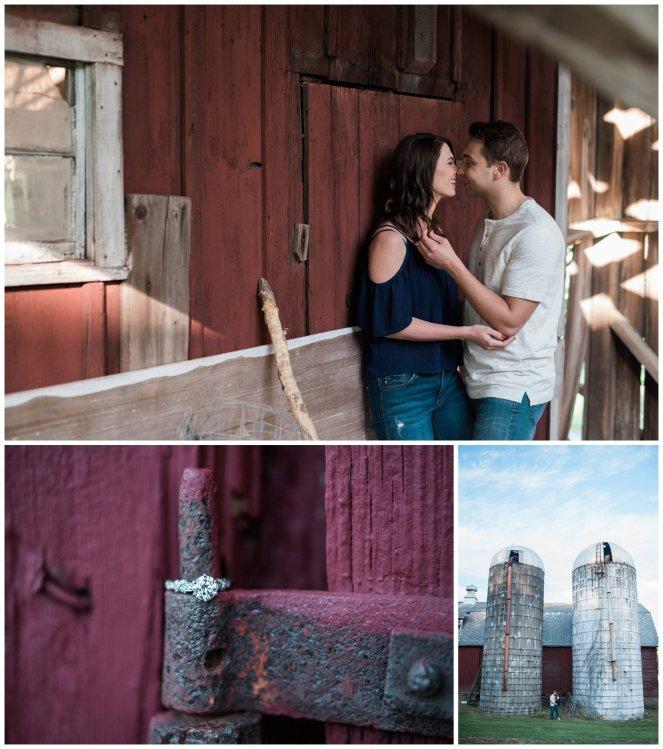 Engagement shoot at a red barn