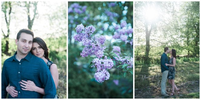 Field and lilacs with a couple